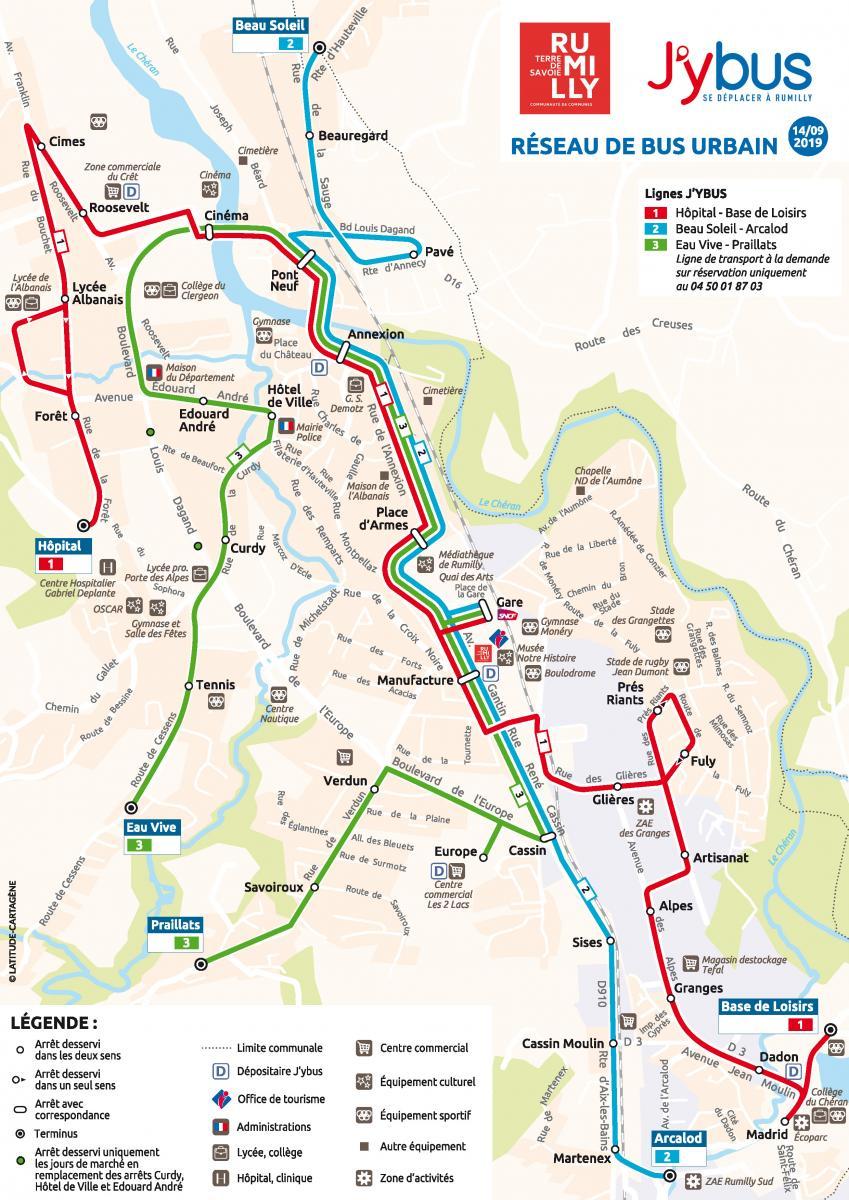 Plan du réseau J'ybus