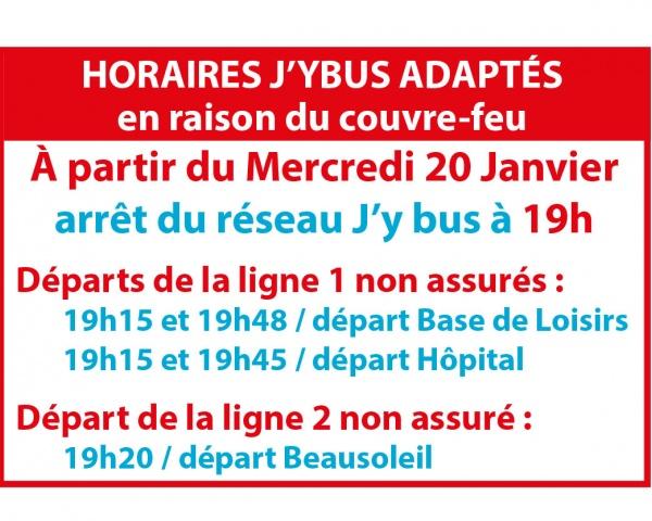 Couvre-feu arrêt lignes 1 et 2 J'ybus à 19h