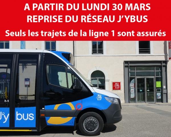 Lundi 30 Mars : reprise du réseau J'ybus