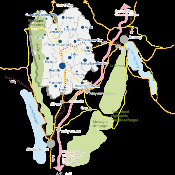 Carte du territoire Rumilly Terre de Savoie